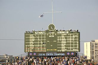 2008 Major League Baseball season - Cubs Win flag flies above Wrigley Field scoreboard immediately after clinching the 2008 National League Central Division.
