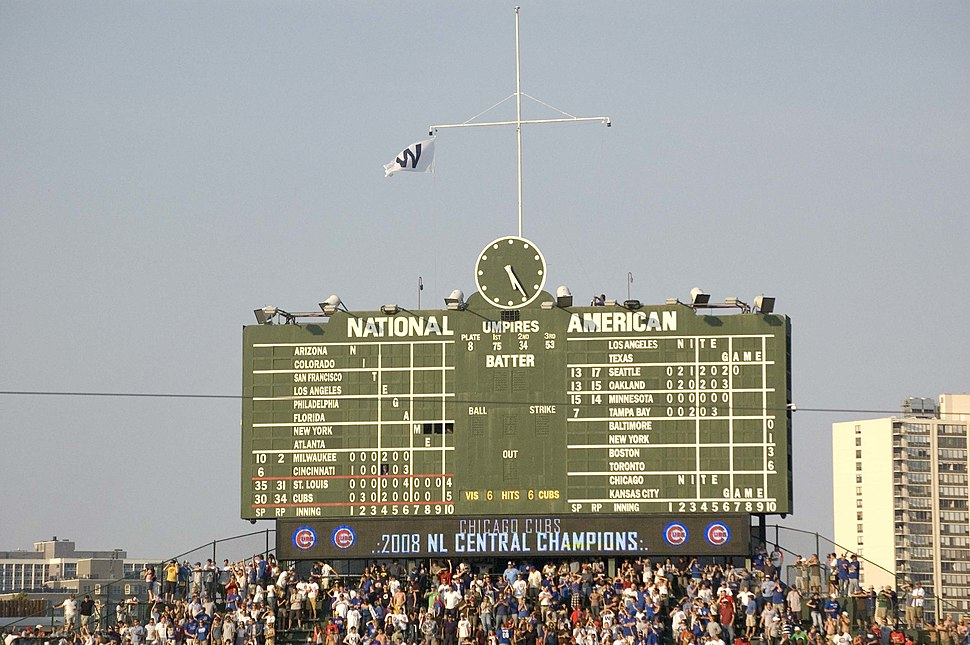 Cubs Win flag on pennant clinching day 2008