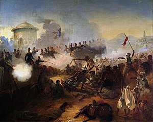 Battle of Mazagran - Défense héroïque du capitaine Lelièvre à Mazagran by Jean-Adolphe Beaucé