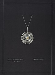 Design drawing for a necklace with a pendant in Louis XV Style