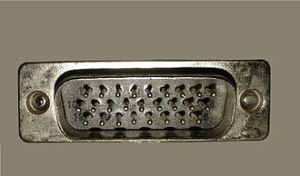 D-subminiature - DA-26 male connector, sometimes incorrectly called DB-26HD or HD-26