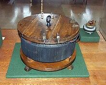 Il prototipo del primo trasformatore ad alta efficienza, (Széchenyi István Memorial Exhibition, Nagycenk, Ungheria, 1885)