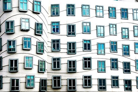 Window of the dancing house in Prague