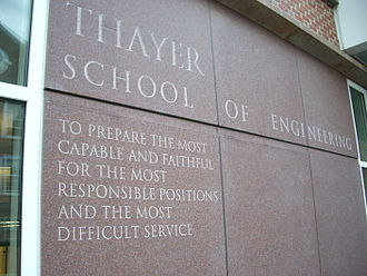 Thayer School of Engineering - An inscription of the Thayer School's mission as articulated by founder Sylvanus Thayer outside the MacLean ESC.