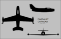 Dassault Ouragan three-view silhouette.png