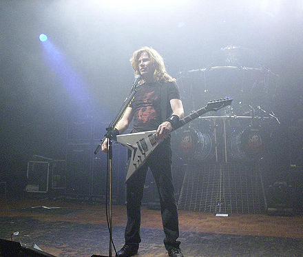 Mustaine dissolved Megadeth in 2002, following an arm injury that prevented him from playing guitar. Dave Mustaine Live Megadeth.jpg