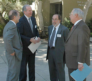 David Baltimore - From left: JPL Director Charles Elachi, La Canada-Flintridge Mayor Greg Brown, Baltimore and JPL Deputy Director Eugene Tattini (2006).