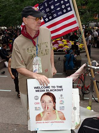 Media blackout - During the initial weeks of Occupy Wall Street, protesters such as this man considered the lack of news coverage to be a media blackout.