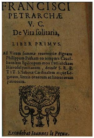 De vita solitaria - Cover for a 1600 edition of  De Vita solitaria
