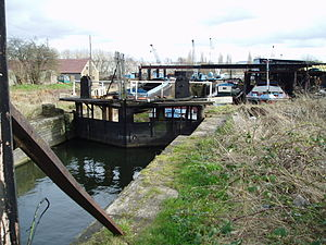 Dearne and Dove Canal - The bottom gate of the third lock in 2008, with Waddington's yard occupying the line of the canal beyond
