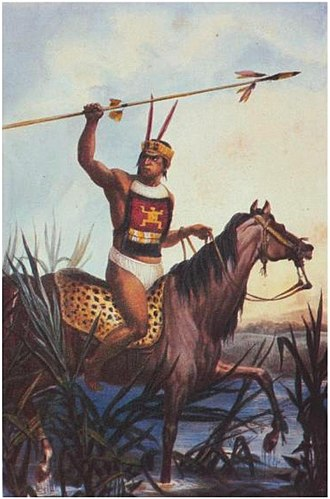 History of Brazil - A Tamoio Warrior depicted by Jean-Baptiste Debret in the early 19th century.