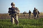 Defense.gov News Photo 111202-M-MM918-002 - U.S. Marine Corps Staff Sgt. Christopher Ballance walks through a field during a security patrol in the Garmser district Helmand province.jpg