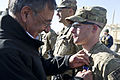 Defense.gov News Photo 111214-D-BW835-016 - Secretary of Defense Leon E. Panetta presents a Purple Heart to a soldier with the 172nd Infantry Brigade at forward operation base Sharana.jpg