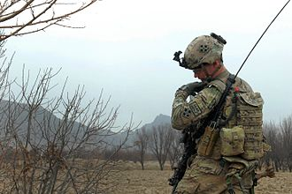 War in Afghanistan order of battle, 2012 - An ISAF soldier from the U.S. 4th Infantry Division during a joint operation with Afghan police in Kandahar in February 2012.