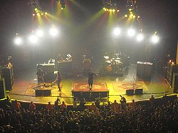 Performing live on April 14, 2007 at the Brixton Academy, London. Left to right: Carpenter, Cheng (fore), Delgado (behind), Moreno and Cunningham