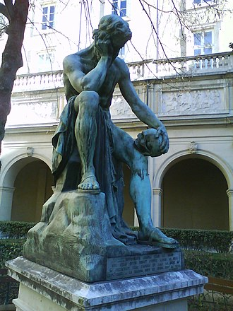 Democritus - Democritus meditating on the seat of the soul by Léon-Alexandre Delhomme (1868).
