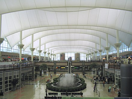 Inside the main terminal of Denver International Airport Denver International Airport terminal.jpg