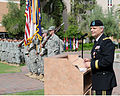 Deputy Commanding General of the U.S. Army Reserve Command, Maj. Gen. Jon J. Miller, addresses Soldiers, family and friends during his retirement ceremony held at Arizona State University Campus in Tempe 121006-A-ZZ999-003.jpg