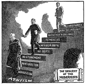 Holiness movement - A Fundamentalist cartoon portraying Modernism as the descent from Christianity to atheism, first published in 1922 and then used in Seven Questions in Dispute by William Jennings Bryan.