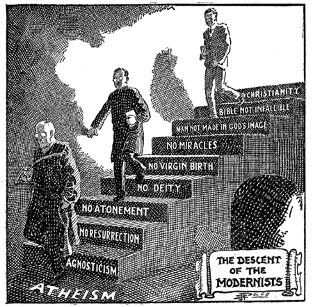 Descent of the Modernists, E. J. Pace, Christian Cartoons, 1922.png