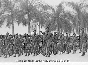 Angolan War of Independence - Portuguese colonial troops on parade in Luanda