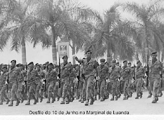 Luanda - Portuguese colonial troops on parade in Luanda.