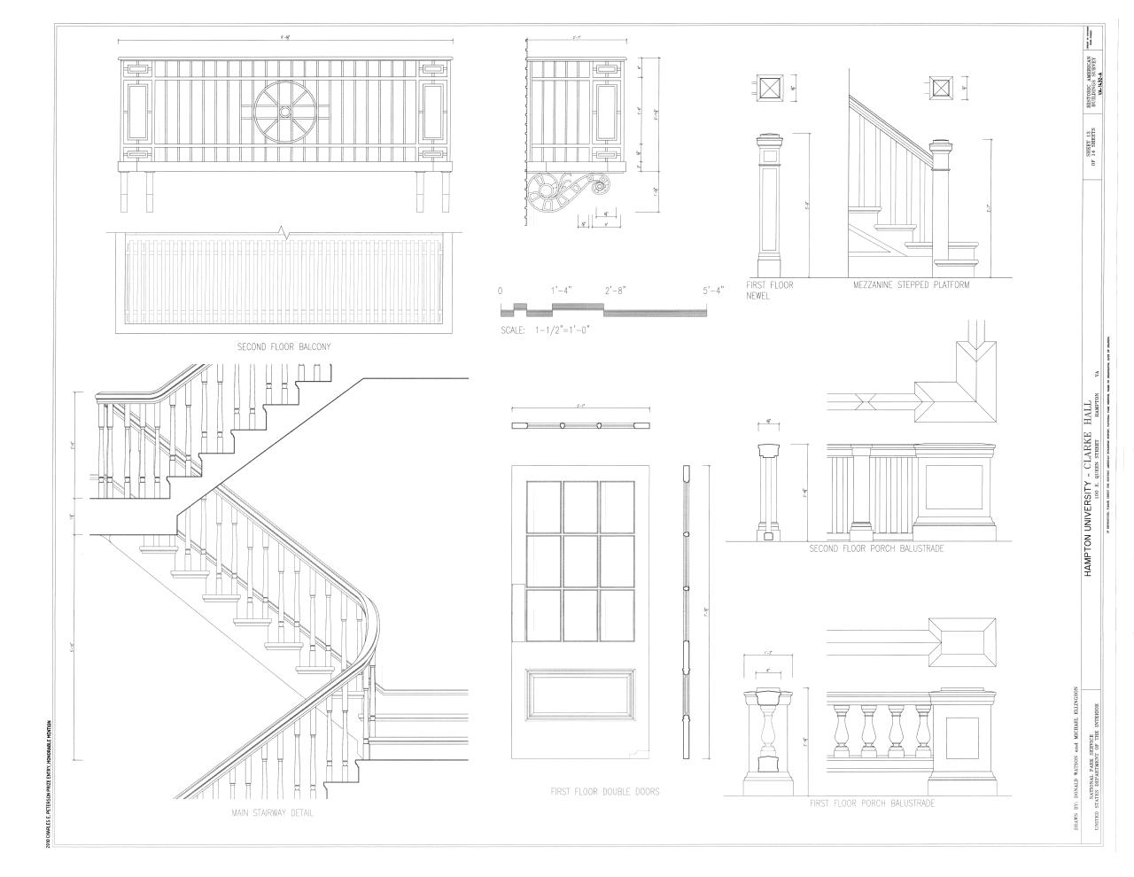 file details of main stairway first floor doors. Black Bedroom Furniture Sets. Home Design Ideas