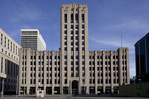 English: The Detroit Free Press building, view...
