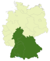 Map of Germany with the area of the Regionalliga Süd highlighted