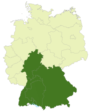 Southern German football championship - Map of Germany:Position of the Oberliga/Regionalliga Süd highlighted