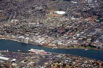 Devonport, Tasmania - Devonport and the Mersey River from the air