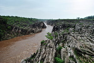 Narmada River - The River Narmada flows through a gorge of Marble rocks in Bhedaghat