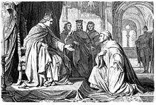 Dante bittend vor Kaiser Heinrich VII., Illustration von Hermann Plüddemann in der Zeitschrift Die Gartenlaube, 1865 (Quelle: Wikimedia)