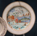 Dish commemorating Peter the Great of Russia during his 1697 visit to Amsterdam, Chinese porcelain, c. 1750 - Winterthur Museum - DSC01535.JPG