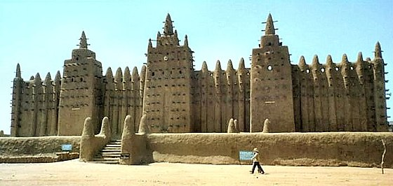 The 13th-century Great Mosque of Djenne is a superb example of the indigenous Sahelian architectural style prevalent in the Savannah and Sahelian interior of West Africa. It is listed an UNESCO World Heritage Site. Djenne Moschee.jpg