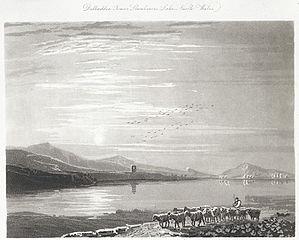 Dolbadden i.e Dolbadarn Tower Llanberres i.e Llanberis lake, north Wales