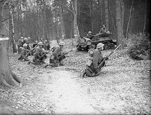 1st Canadian Division - Infantry and Bren gun carriers of The West Nova Scotia Regiment in training at Aldershot, Hampshire, England, December 1939.
