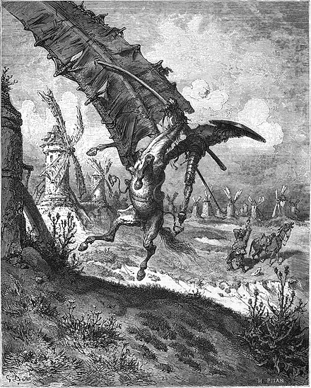Illustration by Gustave Doré depicting the famous windmill scene