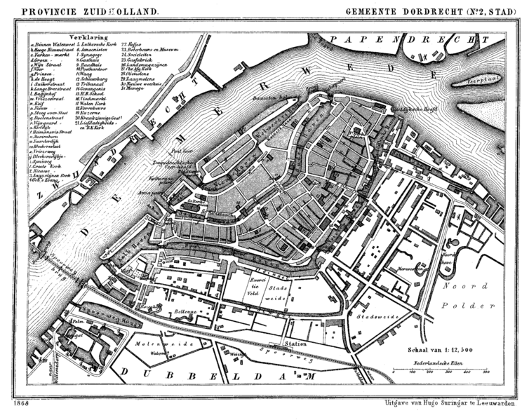 Plan of Dordrecht from 1868.