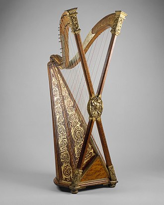 Cross-strung harp - Cross-strung chromatic harp with two necks and X-shaped double pillar (Henry Greenway, after 1895)