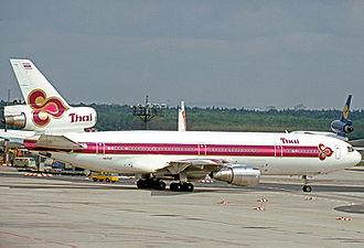 Thai Airways - Thai Douglas DC-10 at Frankfurt in 1977.