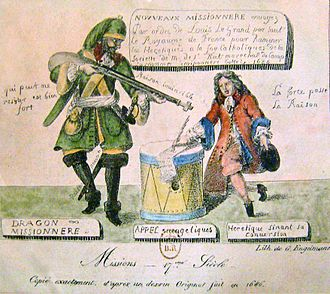 Dragoon - Cartoon of a French dragoon intimidating a Huguenot in the dragonnades