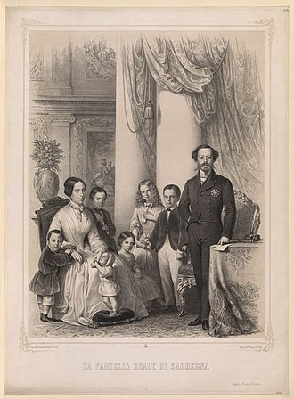 Adelaide of Austria - Queen Adelaide with her husband and six older children, ca. 1854
