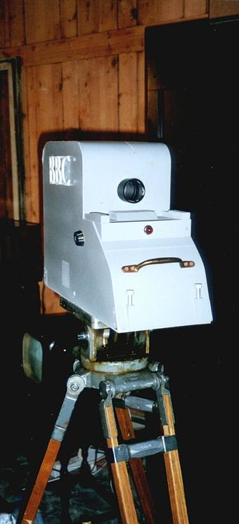 Replica of an Emitron camera used to make the earliest 405-line programmes broadcast on the channel Dummy emitron camera.JPG
