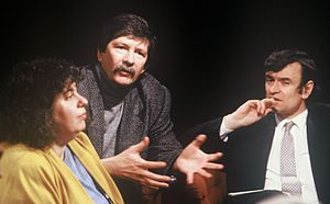 Jim Haynes - Appearing (centre) on TV discussion programme After Dark in 1988, with Andrea Dworkin and host Anthony Clare