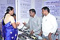 E. Bhuvaneswarai visiting the stall put up by National Institute of Visually Handicapped at the inauguration of the Public Information Campaign, organised by the Press Information Bureau, Chennai, at Palayamkottai.jpg