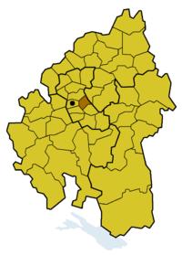 Lage des ehem. Kirchenbezirks Bad Cannstatt innerhalb der Evang. Landeskirche in Württemberg