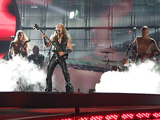 "Finland in the Eurovision Song Contest 2008 - Teräsbetoni performing ""Missä miehet ratsastaa"" at the first semi-final of the Eurovision Song Contest 2008."