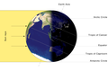 Illumination of Earth by Sun at the southern solstice.
