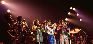 Phenix Horns - The Phenix Horns in 1982. From second left: Don Myrick on saxophone, Louis Satterfield on trombone, Michael Harris on trumpet and Rahmlee Michael Davis also on trumpet.